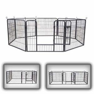 zoomundo Parc Enclos pour Chiens Métal pour Chiots Animaux Grillage Rongeur Petit avec Porte 8 Panneaux – M