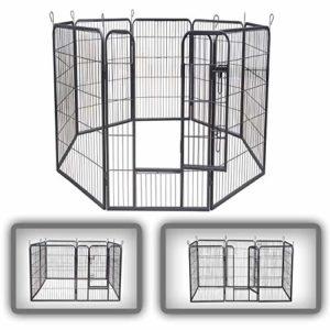 zoomundo Parc Enclos pour Chiens Métal pour Chiots Animaux Grillage Rongeur Petit avec Porte 8 Panneaux – XXL