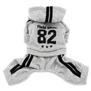 Zunea Manteaux d'hiver pour Chiens Vêtements à Capuche pour Animaux Chat garçon Chaud Polaire Grenouillère Chihuahua Pull Sweat Chiot Veste Gris XS